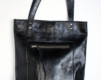The HACKER - Leather Bag - Black Leather Tote - Leather Laptop Bag - Leather Computer Bag - Book Bag - Womens - Mens
