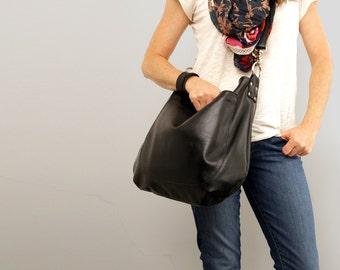 UMA Leather Bag - Leather Hobo Bag - Slouchy Leather Bag - Crossbody Bag - Adjustable Strap -Black Leather Bag - Boho Chic