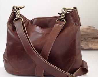 UKSANA - Leather Hobo Bag - Brown Leather Crossbody - Leather Bag - Boho Chic - Boho Bag - Womens Purse - Womens Crossbody - More Colors