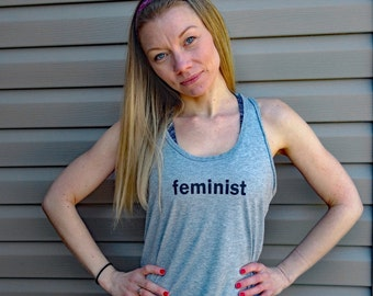 8cecb1e2 feminist, Hand Silk Screen, Bamboo and Organic Cotton, Slim Fit, Super  Comfy Tank Top, Free Shipping