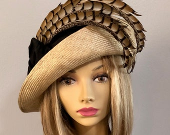 ec0c9e094d88a1 Fiona, beautiful two tone straw hat from the Downton Abbey era, with silk  dupioni and Lady Amherst Pheasant feather embellishment