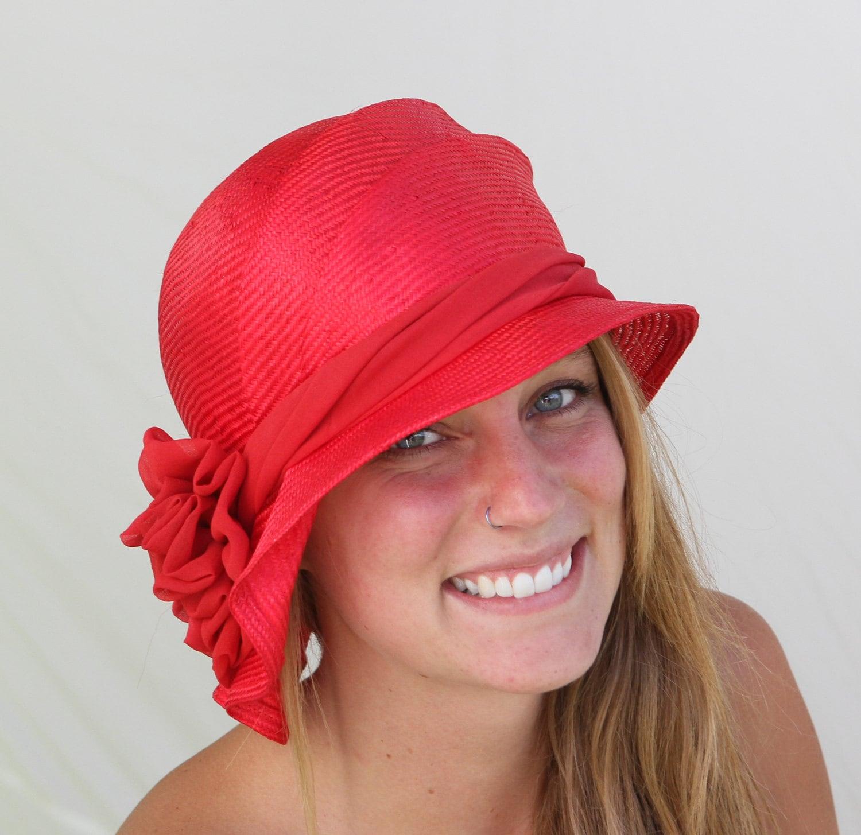 438e3ec3a0b3db Sophia, Kentucky Derby hat, beautiful parasisol straw hat, cloche, womens  millinery flapper hat Downton Abbey, red