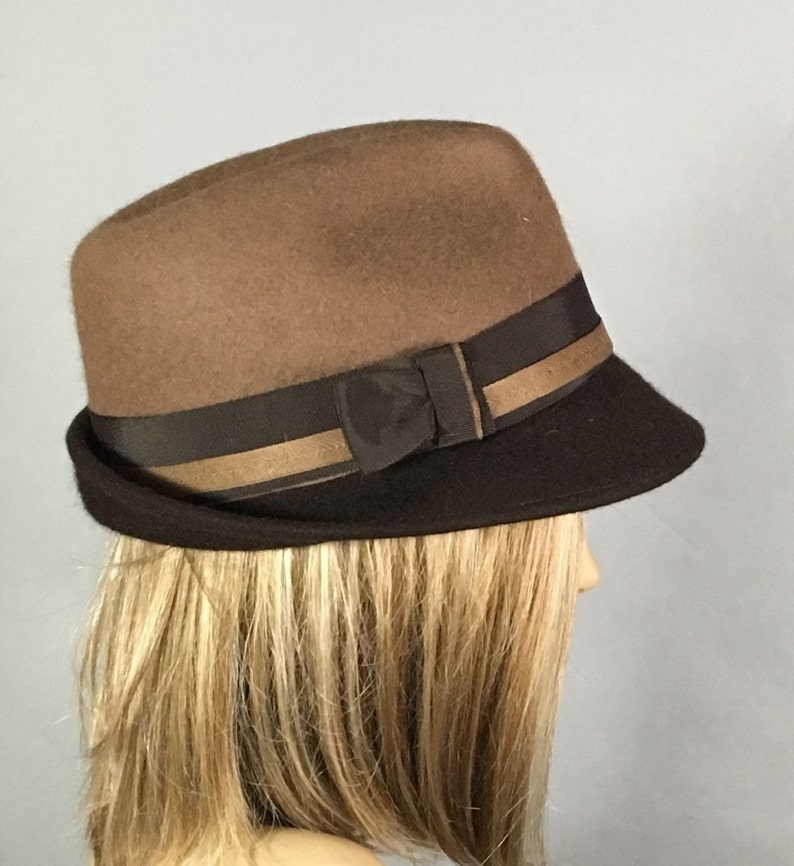 Sami Fur Felt Fedora womens millinery hat two-tone color brown and tan