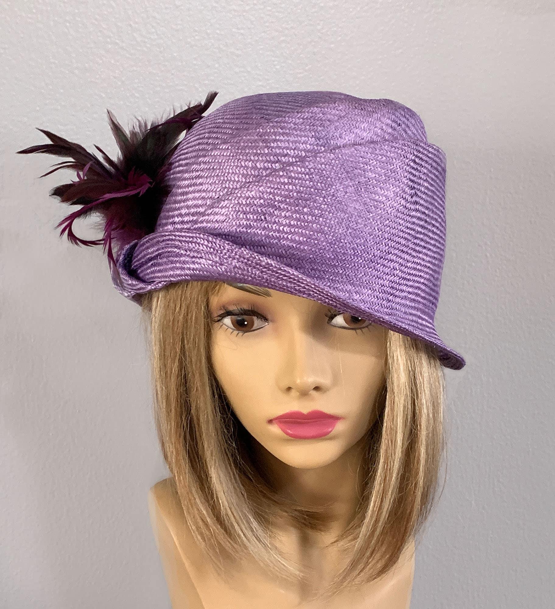 857911be9414ea Sabrina, Kentucky Derby hat, beautiful parasol straw hat with feathers,  cloche, women millinery flapper hat Downton Abbey, purple