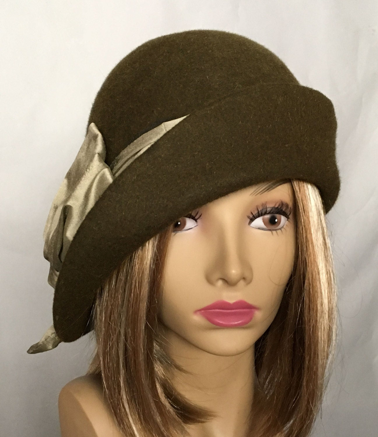 Ashley Fur: Ashley Fur Felt Cloche Side Drape Millinery Hat With Silk