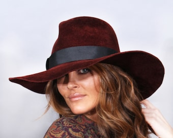 """Fedora womens millinery hat, """"Katy"""",  Velour Felt wide brim and tall crown,  color Burgundy"""