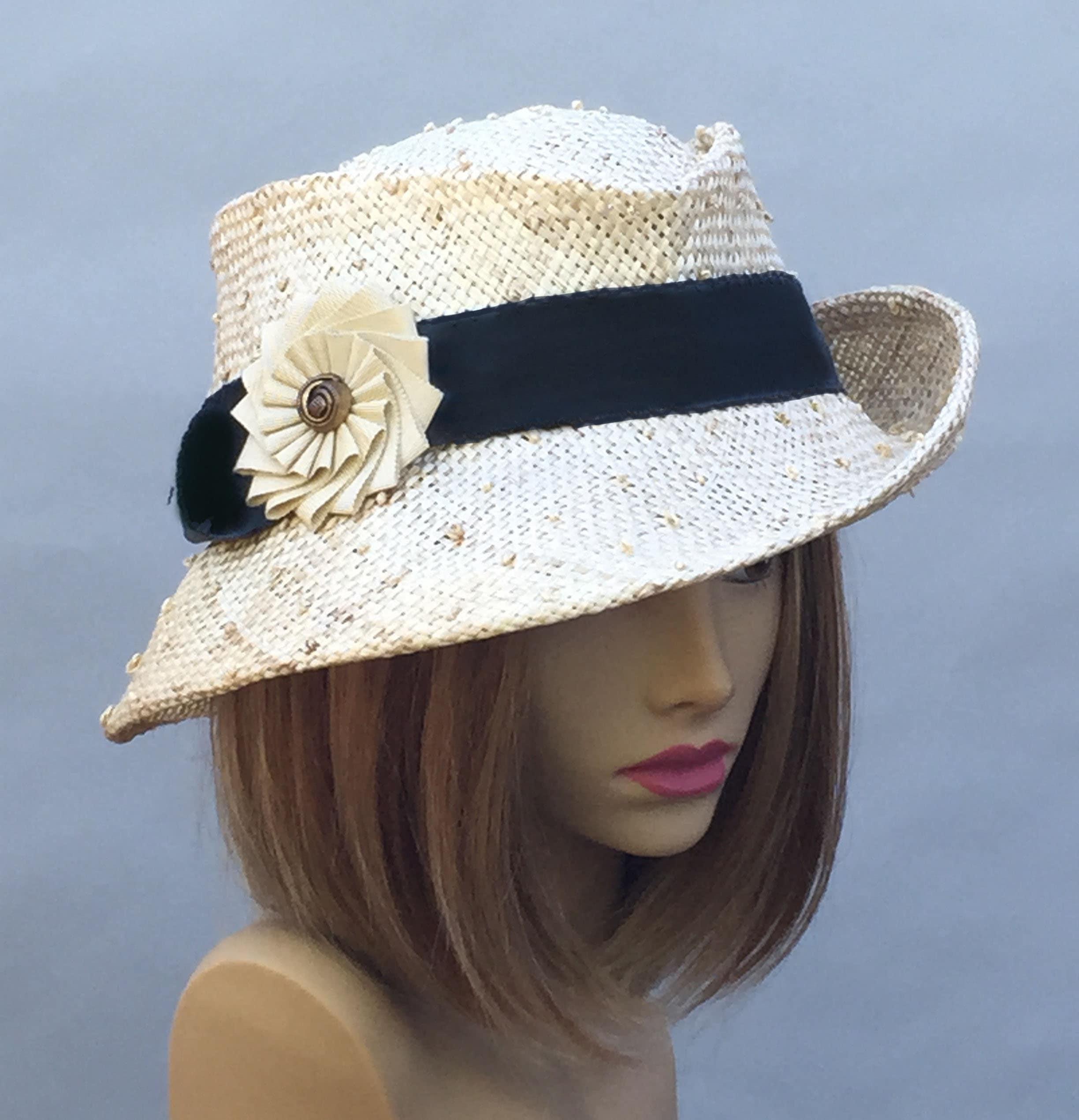 844659cc7 Gina, beautiful straw fedora with black grosgrain ribbon trim and ...