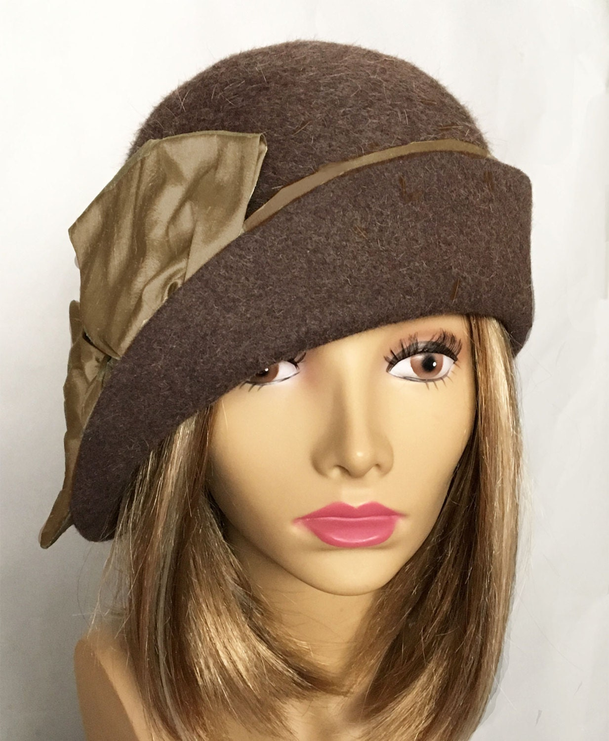 Ashley Fur: Ashley Fur Felt Cloche With Side Drape Color Is Brown