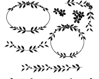 Frame Clip Artdigital ArtVintage Flowers Bordernframesilhouette Blackborder Art Borderflowers Frameinstant Download