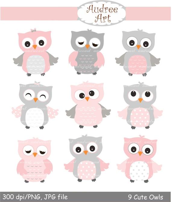 9 cute owls clipart pink owls baby pink and grey owls baby etsy rh etsy com Owl Nurse Clip Art Winter Cute Owl Clip Art