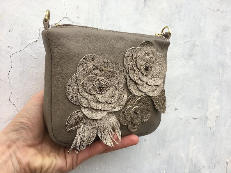 leather floral crossbody leather messenger women floral purse light grey leather shoulder bag gold floral crossbody mini crossbody bag