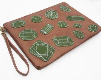 Leather clutch caramel ipad case leather ipad wristlet electronics purse case embellished ipad case,