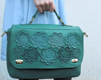 Leather bag womens succulent lather bag womens office purse Floral Bag leather spring fashion green leather bag, leather laptop bag work bag