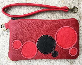 leather wallet, wristlet wallet, iphone wallet, red leather bag, bag organizer, gift for her, accessories, mothers day
