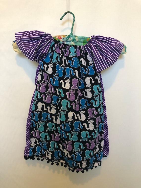 pom pom pom poms purple vintage fabric Size 3- Girls Peasant dress seersucker girls gift cats