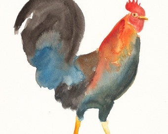 ROOSTER by DIMDI Original watercolor painting 8x10inch