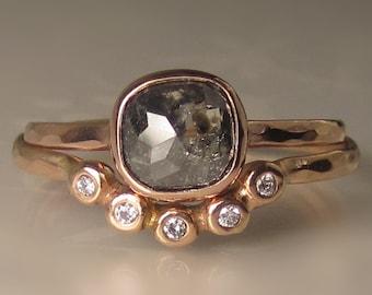 Salt and Pepper Rose Cut Diamond Engagement Ring, Hammered Rose Cut Diamond Wedding Set, 14k Rose Gold Rose Cut Diamond Ring