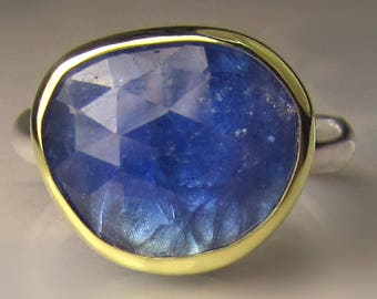 One of a Kind Rose Cut Tanzanite Ring, Tanzanite Ring in 18k Gold and Sterling Silver