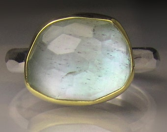 Aquamarine over Mother of Pearl Ring, Aquamarine Ring, 18k Gold and Sterling - Made to Order