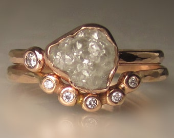 Raw Diamond Engagement Ring, Rough Diamond Bridal Set, Hammered Rough Diamond Ring in 14k Rose Gold, Rose Gold Uncut Diamond Ring