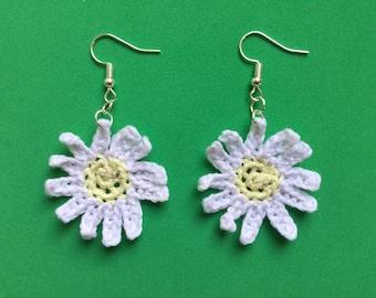 Handmade Crochet Daisy Earrings