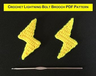 Crochet Lightning Bolt Brooch Pattern