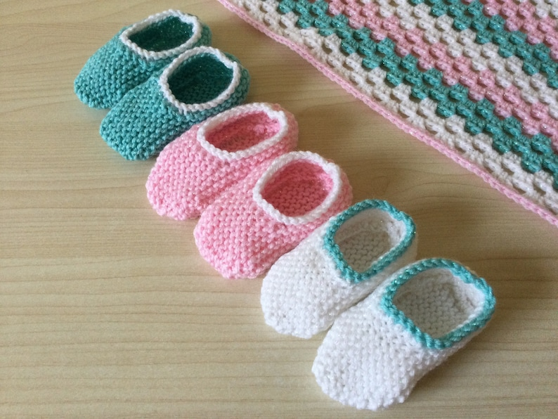 Handmade Knitted Baby Booties White Turquoise Pink Sparkle image 1