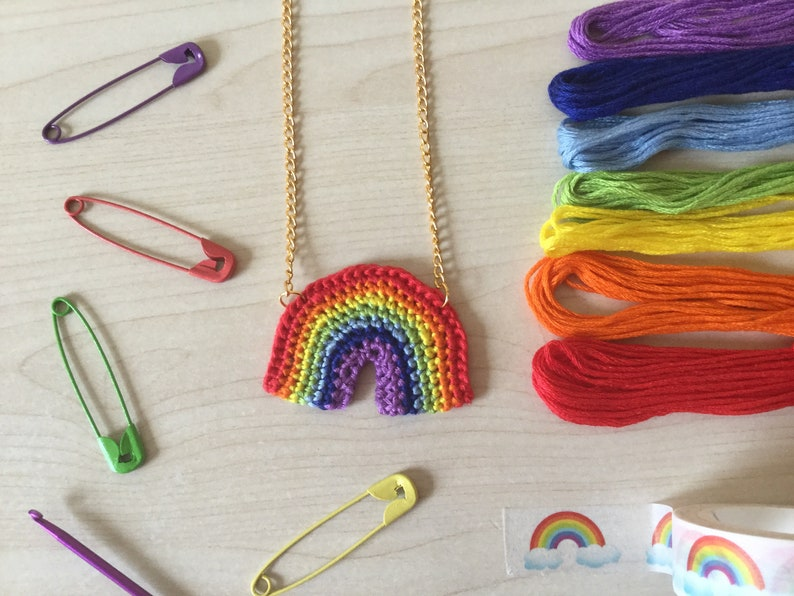 Handmade Crochet Rainbow Necklace image 0