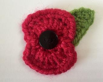 Handmade Crochet Remembrance Day Poppy Brooch