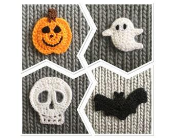 Handmade Crochet Halloween Brooches - Pumpkin, Skull, Ghost, Bat