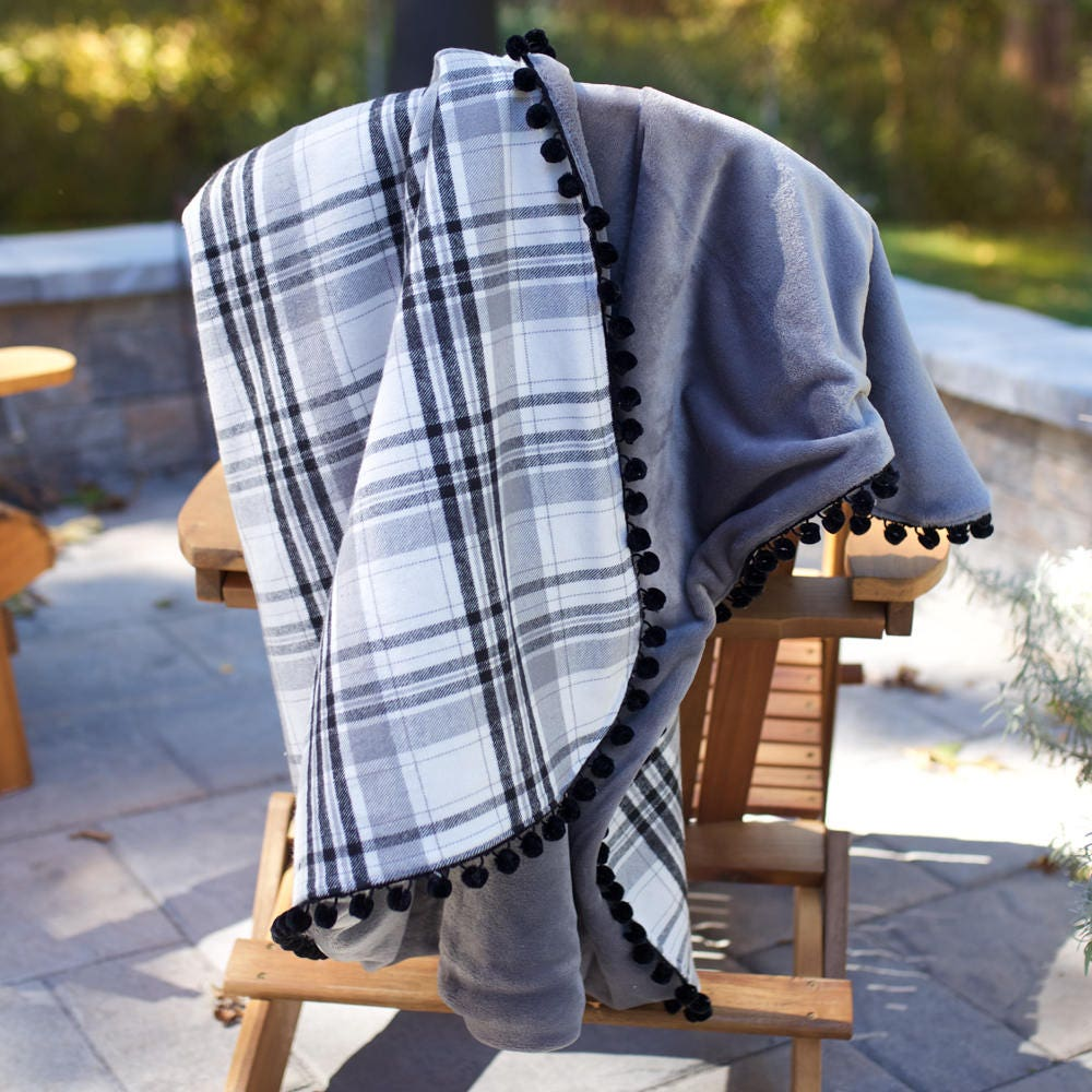 Plaid Flannel Throw Blanket Fleece Pom Pom Black Grey