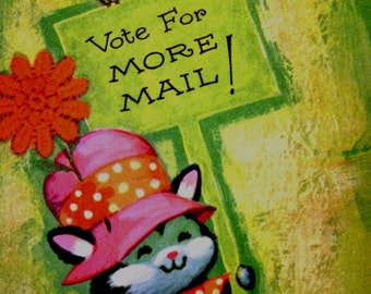 Vintage Greeting Card, Lot of 3, Vote for More Mail Sign Carrying Silly Smiling Cat Hat, Neon Colors, Supplies Altered Art Scrapbook Collage