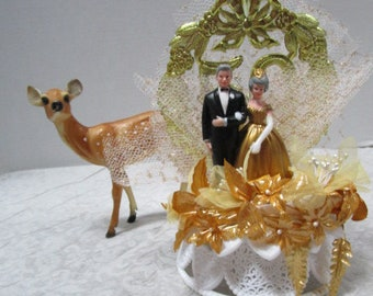Vintage Wilton Bride and Groom 50th Wedding Anniversary Cake Topper Wedding Cake Topper, Bridal Couple, Wedding Couple, Souvenir Decoration