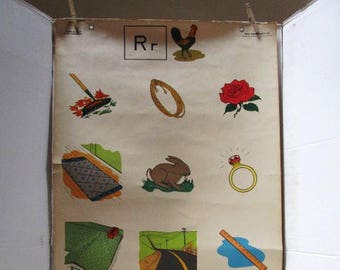 Oversized Vintage Flip Chart Poster Letter R, No. 272F, 1950's Elementary School ABC Teaching Poster, Ideal School Supply Company, Ephemera,