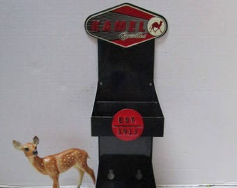 Vintage Metal Kamel Cigarette Store Display, Tobacco Collectible, Camel, Red +Black, Rustic, Man Cave, Shelf, Wall or Counter, Repurpose