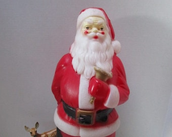 vintage santa blow mold empire plastics light up yard decoration red suit salvation army bell ringer retro holiday decor beard
