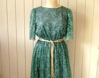 Vintage Lace Dress, Rockabilly, Turquoise Aqua Teal, Prom, Bride, Medium, Curvacious, Handmade in USA, Cowgirl Saloon gypsy, REDUCED