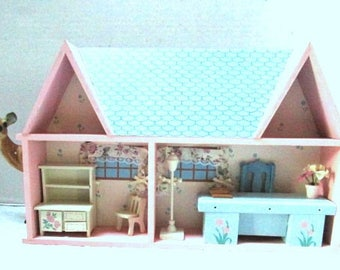 Vintage Wallhanging Dollhouse, Diorama House Room Scenes, Wooden, 2 Story Doll House, Nursery Girl Room Decor, Miniature Furniture, Cut Away
