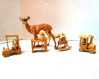 4 Vintage Wooden Figural Ornaments, Pigtail Girl in Car Train Rocking Horse Bunk Bed, Taiwan, Miniature Figurine, Package Decor, Handmade