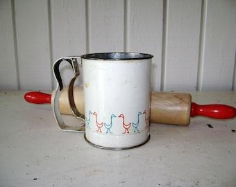 Vintage Metal Flour Sifter, Farmhouse Kitchen, Lithograph Painted Goose Design, Red Aqua, Bake Sale, Androck, Country Decor, Grandmas Baking