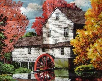 VINTAGE KayDee Linen Tea Towel, 1984 Calendar, Old Mill Fall Scene, Birthday Gift, New Old Unused Pristine, Rural America, Grist Mill, Farm