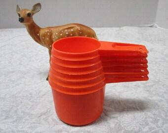 Vintage Tupperware Orange Nesting Measuring Cups, Space Saving Complete 6 piece Set Plastic Cooking Baking Kitchen, Clean, Retro