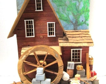 Vintage Handmade Grist Mill / Water Mill / Grinding Mill, Large Size Rustic Cottage Style Wooden Wall Hanging, 3 Dimensional, Detailed