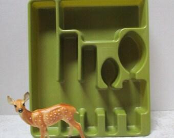Vintage Flatware Tray Rubbermaid Silverware Holder Cutlery Organizer, Extra Large Avocado Green divided tray Drawer Organizer, Rubbermaid