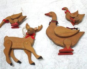 4 Vintage Wooden Figural Ornaments, Geese+ Deer, Jointed, Pine Wood, 3D Package Tie-On, Country Decor, Handmade, Shelf Sitters, Tree Hangers