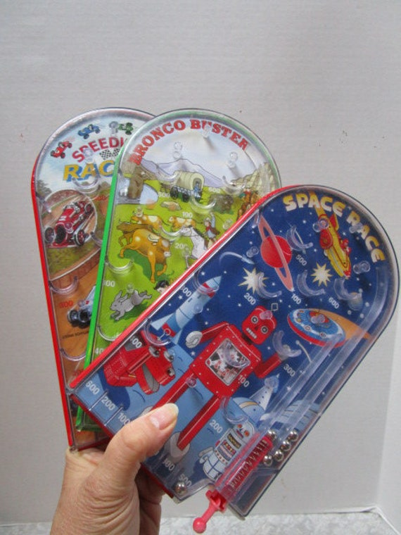 Choice Toy Pinball Game, Speedway Racing or Bronco Buster or Space Race,  Vintage Kids Party Favor, Tin Lithograph Tabletop Skill Challenge