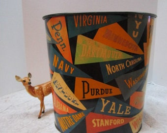 Vintage College Pennant Trash Can, Metal, Chippy Lithographed Big Ten School Spirit Motif, High School Counselor Office, Man Cave, Dorm Room