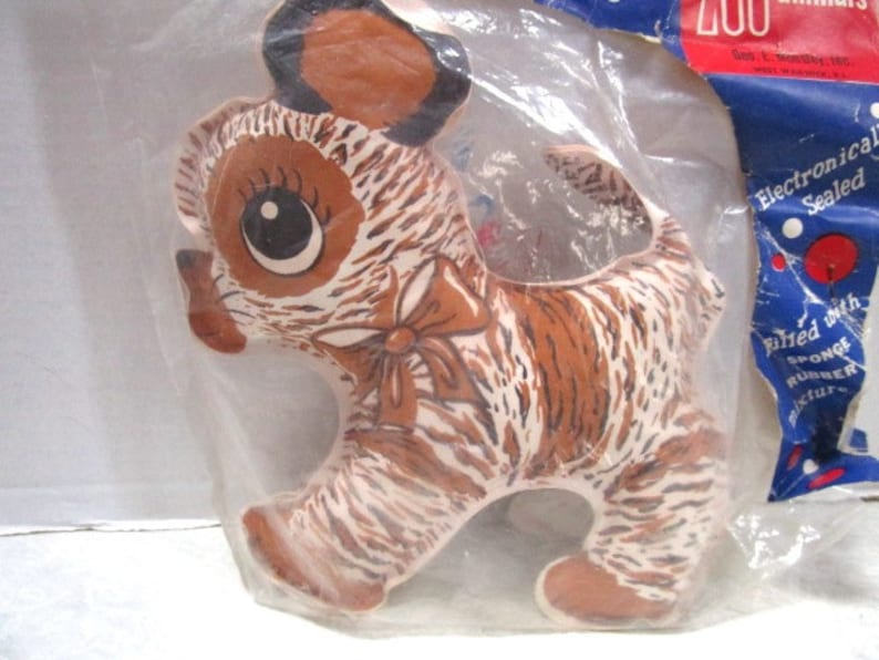 New Old Never Opened Stripes Dog Tiger Washable Floating Stuffed Animal Original packaging Vintage Mousley Zoo Animals Toy NIB