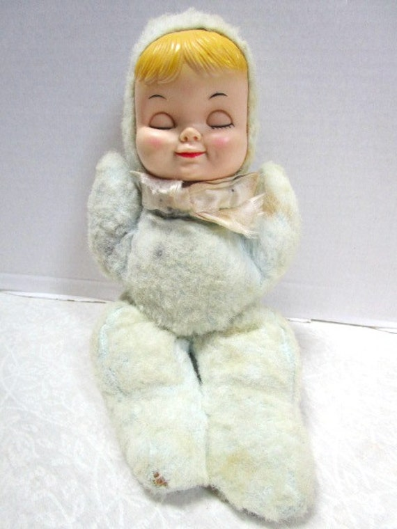 Vintage Wind up Animated Musical Sleeping Baby doll child  1299f8f5367