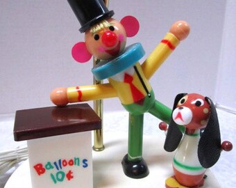 Vintage Kids Lamp, Balloon Clown,  Puppy Dog, Nursery Decor, Electric Light, Baby Room, Nightlight, 3 Way Lamp, Security Light